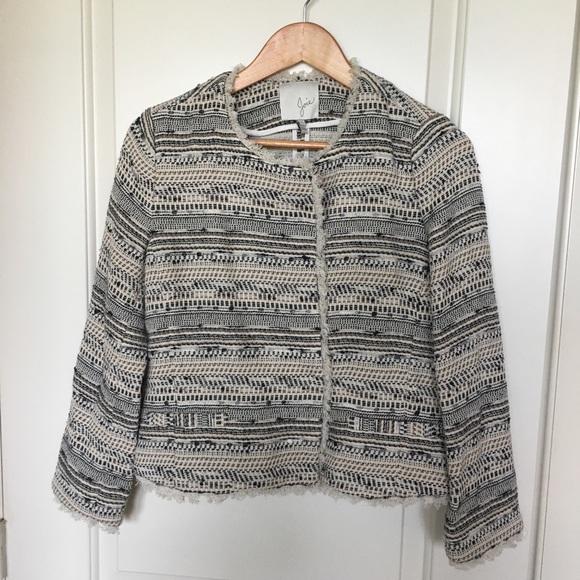 Joie Jackets & Blazers - Joie tweed fringe blazer Sz small EUC
